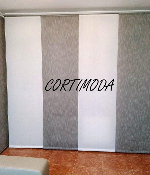 Panel salón técnico en 2 colores intercalados y enrollable lisa a juego